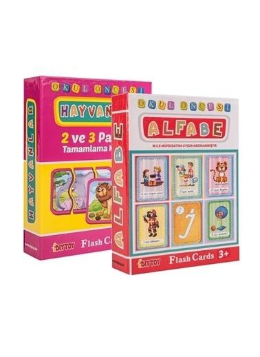 Morhipo kitap Flash Cards Okul Öncesi Alfabe + Hayvanlar Renkli